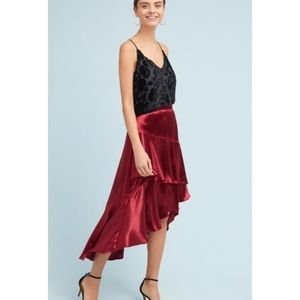 Anthro Moulinette Soeurs Tiered Satin Maxi Skirt